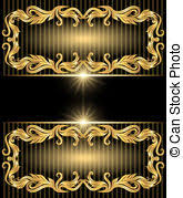 vector clip of green background with jewels golden ornament