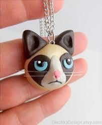 Fimo Meme - grumpy cat necklace tardar sauce tard internet meme hand made