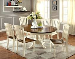 antique white dining room table round set paint country furniture