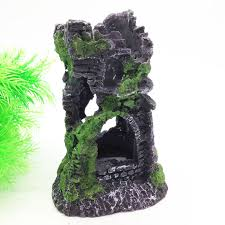 aquarium decoration castle watchtower ruins fish tank hollow resin