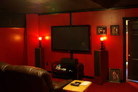 Theatre Room Designs At Home by Interior Design Spectacular Home Theater Room With Red Wall Color