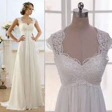 chiffon wedding dress vintage modest wedding gowns capped sleeves empire waist plus size