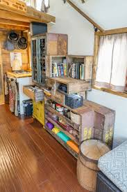 reclaimed crate staircase for tiny house interior design