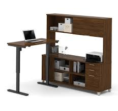 Modern Desk Hutch by Modern Sit Stand Desk With Credenza U0026 Hutch In Oak Barrel