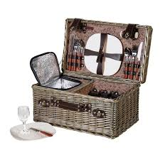 wine picnic baskets large wicker picnic basket wine cooler 4 servings mulberry moon