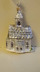 blown glass silver country church christmas tree ornament