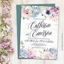 Succulent Wedding Invitations Sweet Rustic Boho Floral Succulent Wedding Invitation Suite
