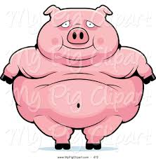 swine clipart of a cute obese pig standing by cory thoman 472
