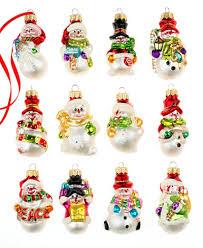 box of 12 mini snowman ornaments created for macy s