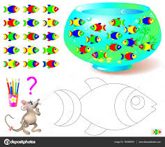 coloring page with logic puzzle for children need to find the