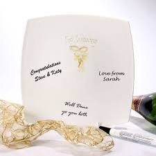guest signing plate rings and ribbon wedding guest signing plate the gift experience