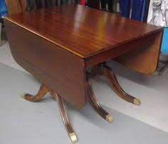 Drop Leaf Pedestal Dining Table Antique 1940 U0027s Duncan Phyfe Style Mahogany Drop Leaf Table