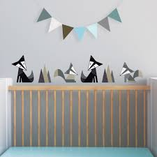 Bird Wall Decals For Nursery by Fox Wall Decal Black Fox Decal Gray Nursery Woodland Wall