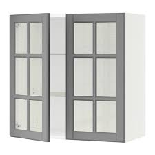 SEKTION Wall cabinet with 2 glass doors  Bodbyn gray 30x15x30   IKEA