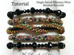beaded bracelet patterns images Single spiral memory wire bracelet tutorial beading tutorial jpg