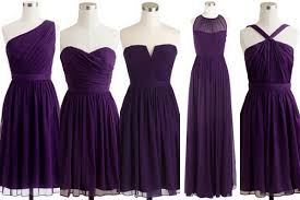 violet bridesmaid dresses acai purple and pale yellow bridesmaid dresses