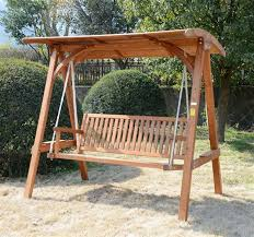 Outdoor Swing Chair Canada Outsunny 3 Seater Garden Outdoor Larch Wood Swing Chair Bench Wood