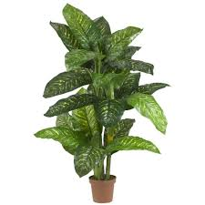 nearly natural real touch 5 ft green dieffenbachia silk potted