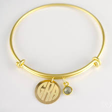 Monogram Bangle Bracelet Birthstone Bracelets Danique Jewelry