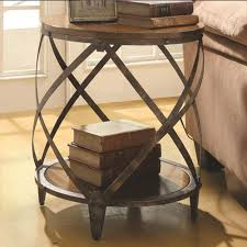 Accent Side Table Table Marvelous Industrial Rustic Rolled Metal Drum Accent Side