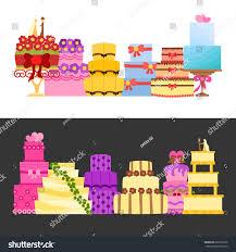vector cartoon illustration flat wedding cakes stock vector