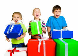 gifts for kids kids with a gifts white background stock photo