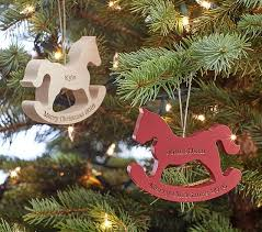 personalized wooden rocking ornaments pottery barn