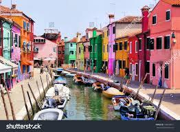 colorful canal scene burano venice italy stock photo 130020917
