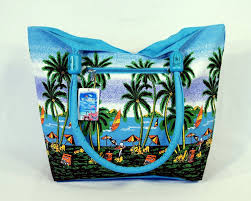 water resistent palm tree canvas tote bag wood