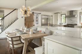 l shaped island bright modern kitchen with l shaped island with built in banquette