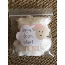 sheep baby shower sugar spun wool stickers cotton candy favors
