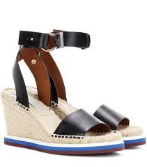 stella mccartney espadrille wedge sandals black women 704345