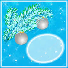 christmas greeting card with frosty christmas tree branch and
