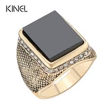men s rings hot black ring 2017 fashion gold color big square wedding men s