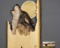 wood carving wall for sale wolf carved on wood wood carving with bark made gift wall