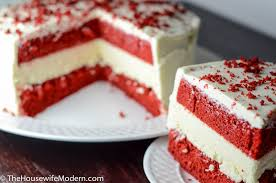 layered red velvet and white chocolate cheesecake