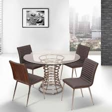 brushed stainless steel dining chair in gray pu with walnut back
