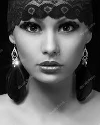 Professional Makeup Fashion Muslim Portrait Beautiful Gypsy Young Woman With