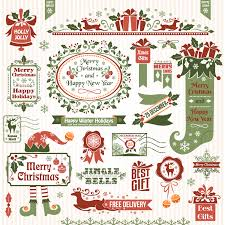 beautiful christmas element vector material retro labels beautiful