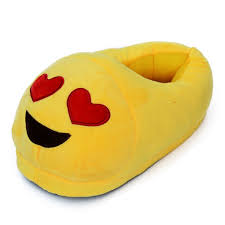 emoji slippers heart eyes soft stuffed plush toy gifts