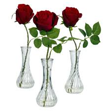 Vases Of Roses 12 In H Red Rose With Bud Vase Set Of 3 1269 S3 The Home Depot