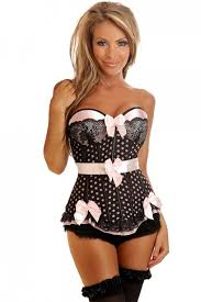 black pink pin up polka dot underwire corset top amiclubwear top