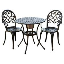 Cast Iron Bistro Chairs Angeles 3pc Cast Aluminum Patio Bistro Furniture Set With Ice