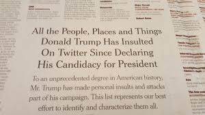 the new york times publishes new york times publishes 2 page spread of trump twitter insults
