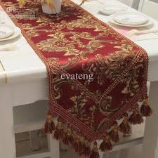 Gold Lace Table Runner High Quality Jacquard Burgundy Table Runner Mirror Table Runner