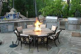 Patio Table With Firepit Outdoor Kitchen With Pit Table Traditional Patio Dc