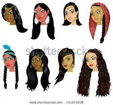 aztec hair style vector illustration of indian arab and native american women