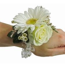 white mini gerbera and white wristlet corsage cbccla02