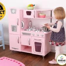 kidkraft vintage pretend play wooden kitchen set in pink