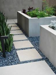 Modern Garden Planters Modern Garden Design With Stone Paving And Gravel Stones 40
